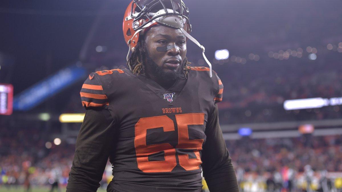 File-This Nov. 14, 2019 file photo shows Cleveland Browns defensive tackle Larry Ogunjobi...