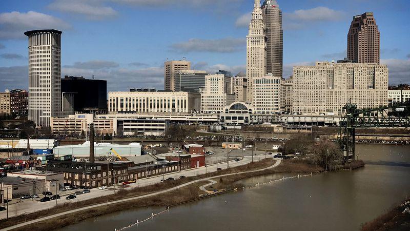 The Cleveland skyline taken from the Lorain-Carnegie Bridge.